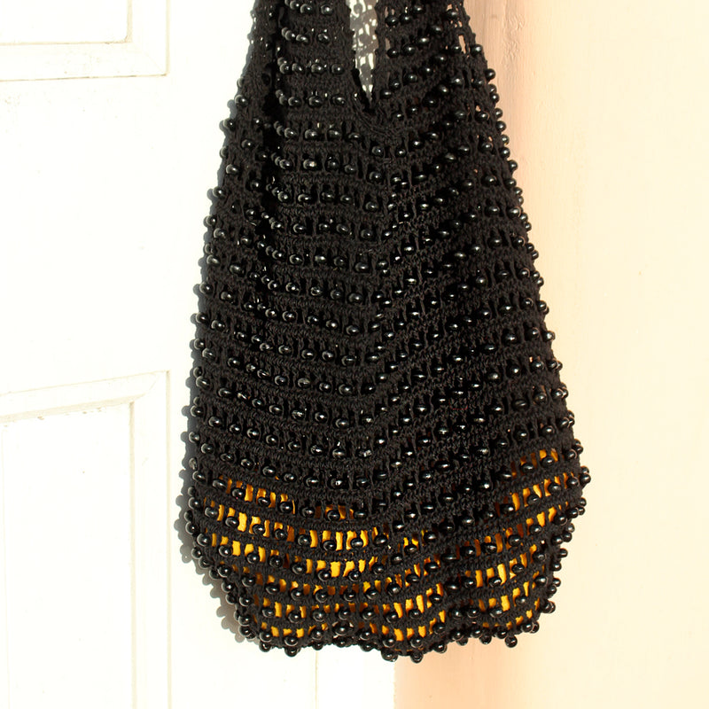 Vegan Bag Kama Wooden Beads Crochet Bag in Black