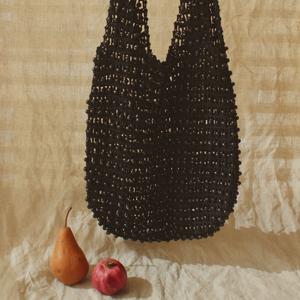 Karma Wooden Beads Crochet Bag in Black
