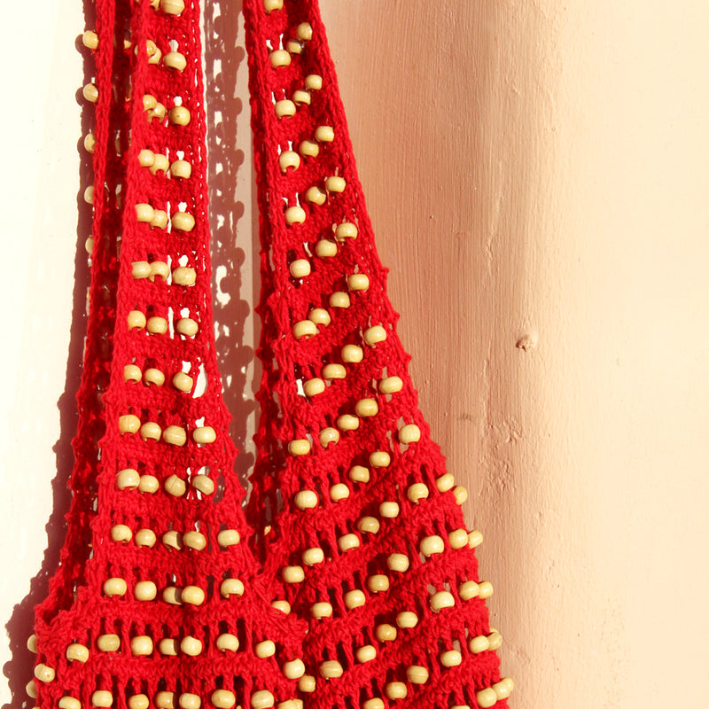 Vegan Kama Wooden Crochet Beads Bag in Red