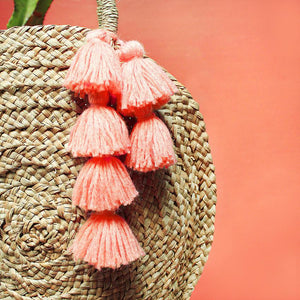 Luna Round Bag, Round Straw Bag, Woven Straw Bag, Round Beach Bag, Beach Handbag, beach tote bag, Straw tote bag, with pink tassels