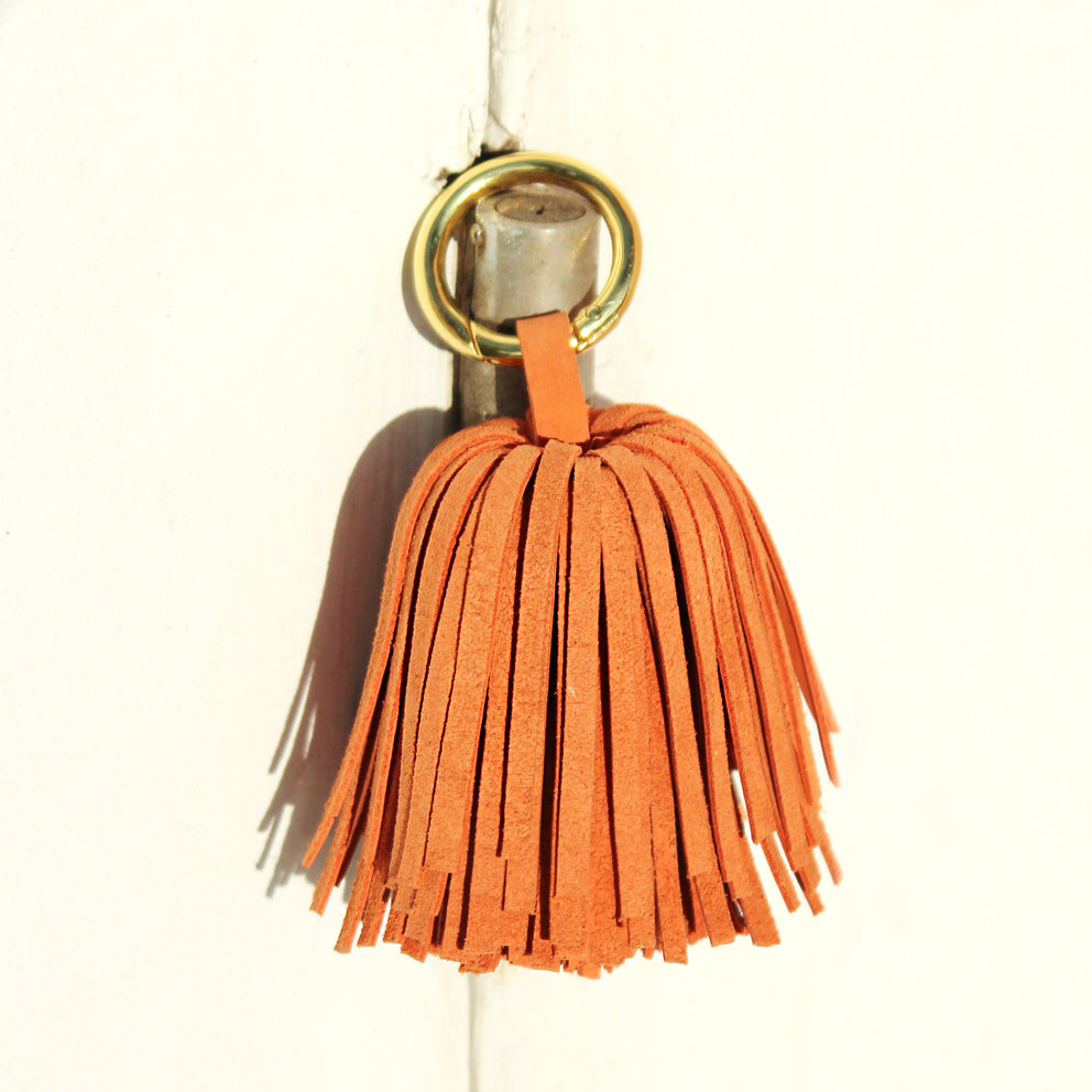 Upcycled Leather Pom Tassel Bag Charm - in Camel Brown