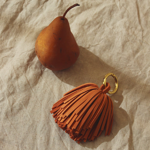 Leather Pom Tassel Bag Charm - in Camel Brown
