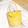 Toko Bazaar Woven Tote Bag - in Mustard Yellow & White