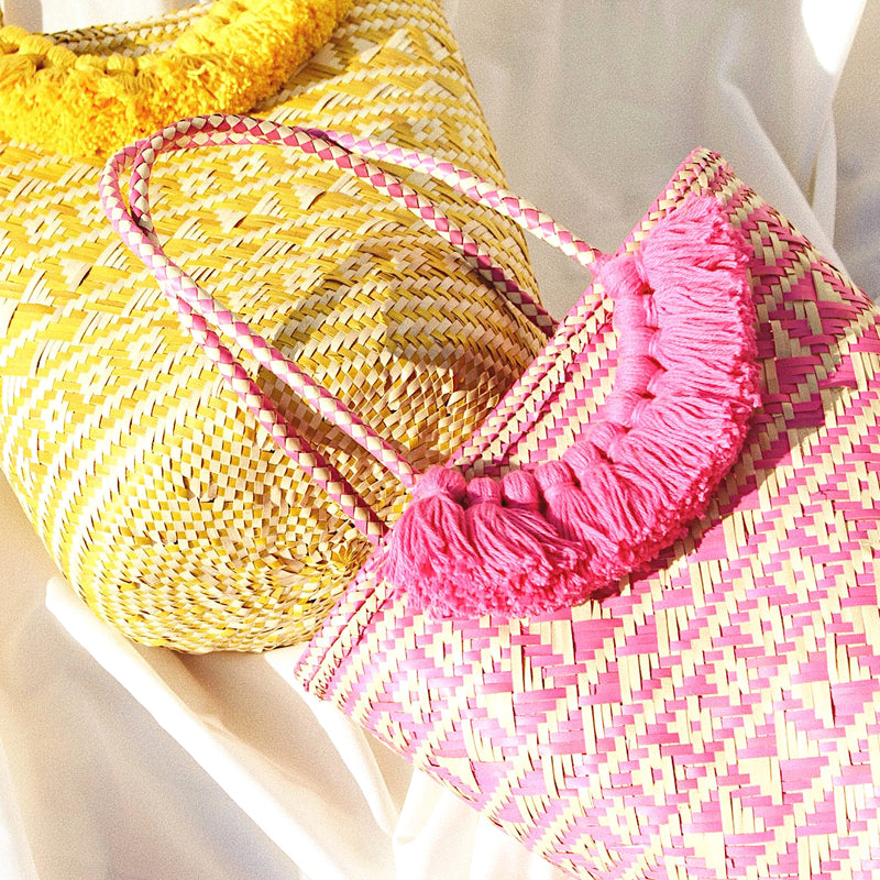 Borneo Maya Straw Tote Bag - in Yellow
