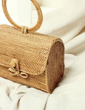 Atta Mandailing Straw Bag - Top Handle Rattan Bag - Free People Straw Bag