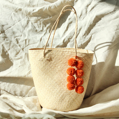 Petite Luna Straw Tote Bag - Round Bag with White Agate Stones