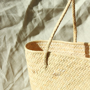 Borneo Serena Straw Tote Bag with Pumpkin Orange Pom-poms