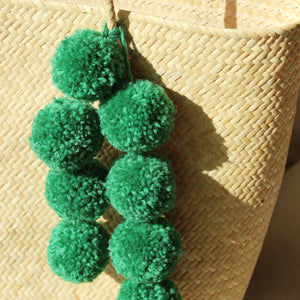 Borneo Serena Straw Tote Bag with Green Pom-poms