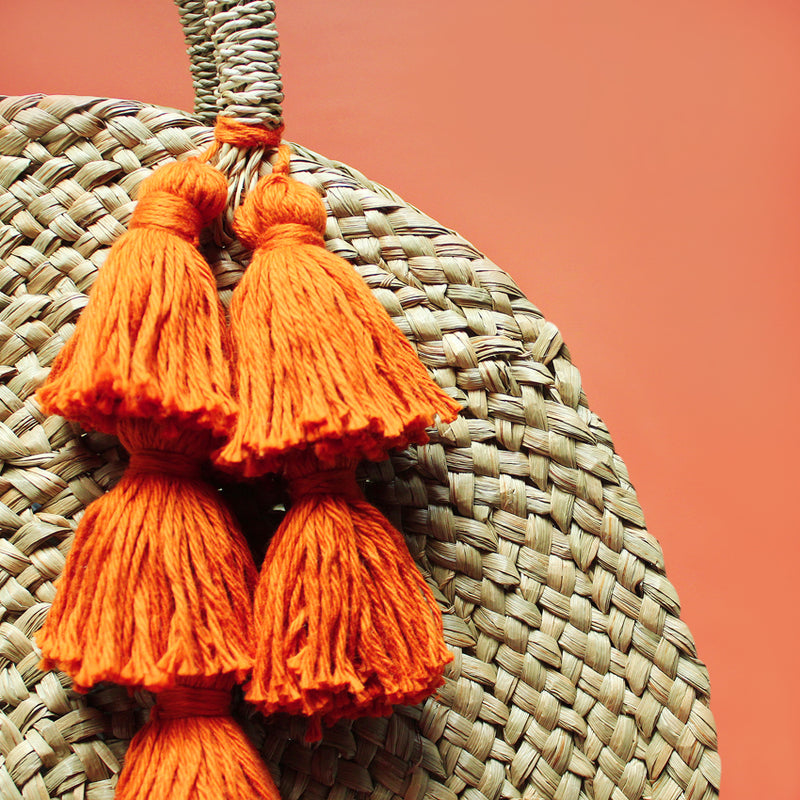 Brunna Luna Bag - Round Straw Tote Bag with Pumpkin Orange Tassels