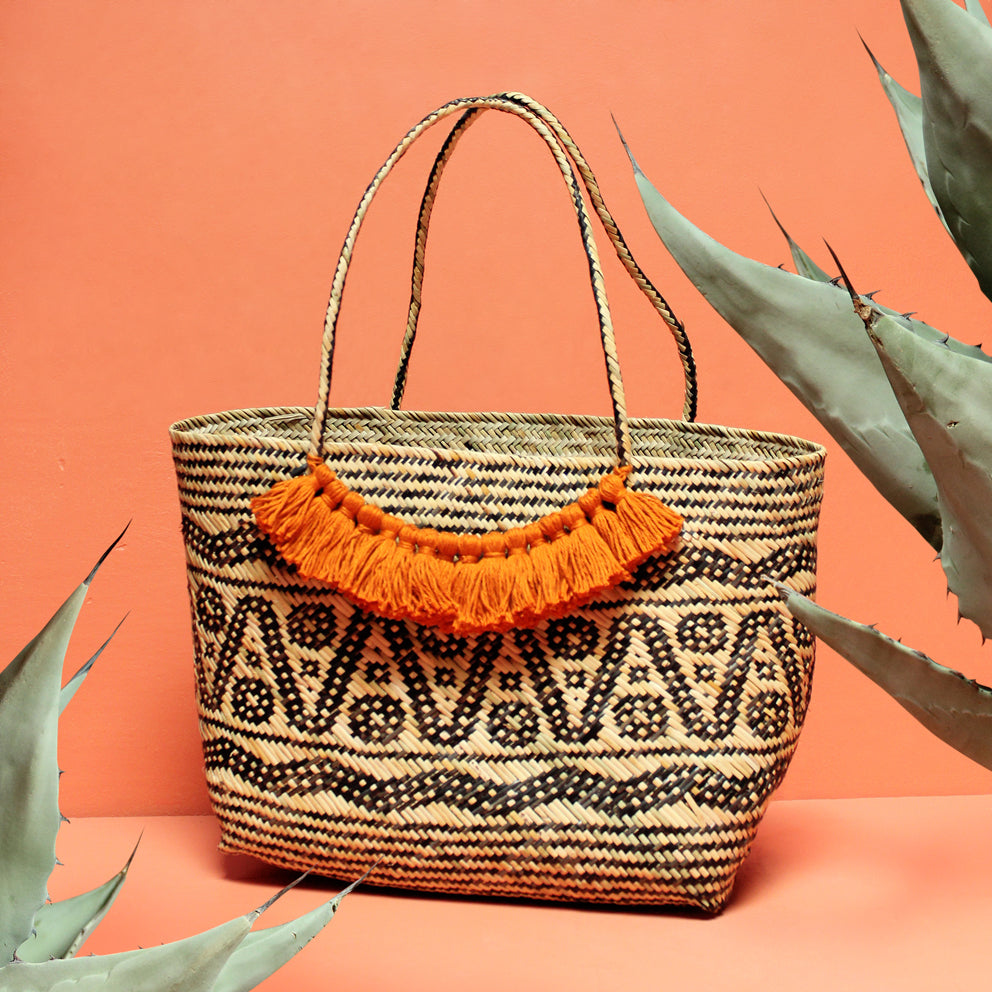 Borneo Medio Straw Tote Bag - with Ginger Roman Tassels