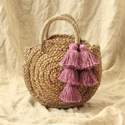 "Petite Luna ""Love Rush"" - Round Straw Bag with Red   Pink pom -poms ... b0c3b1041e790"