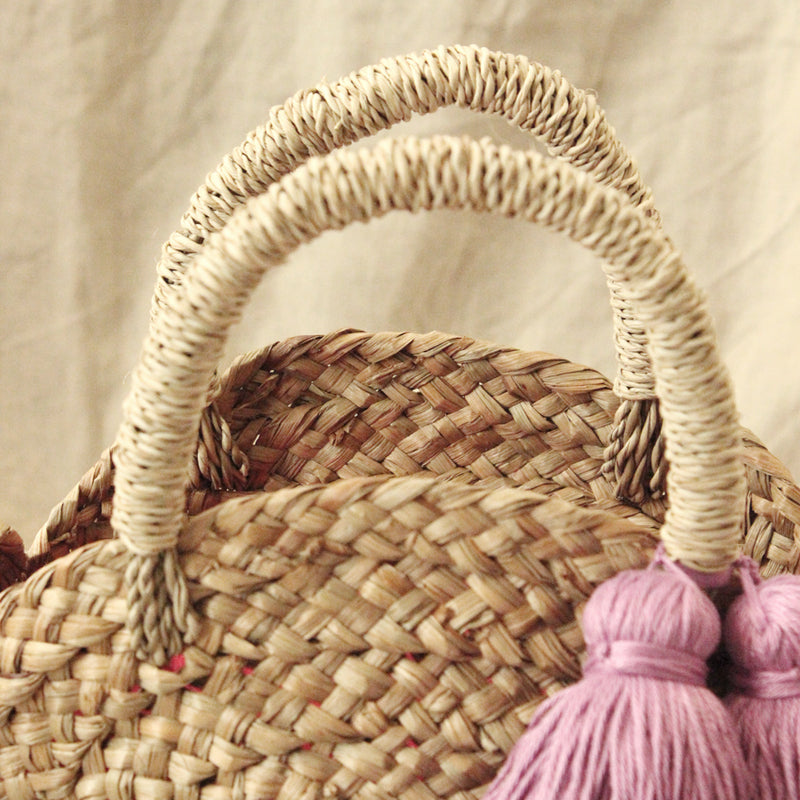 Petite Luna Bag - Round Straw Tote Bag with Lavender Purple Tassels