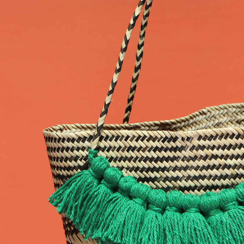 Borneo Roman Straw Tote Bag No. 12 - Handbag with Lush Green Tassels