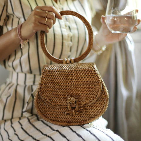 Atta Carmen Rattan Bag with Leather Shoulder Straps