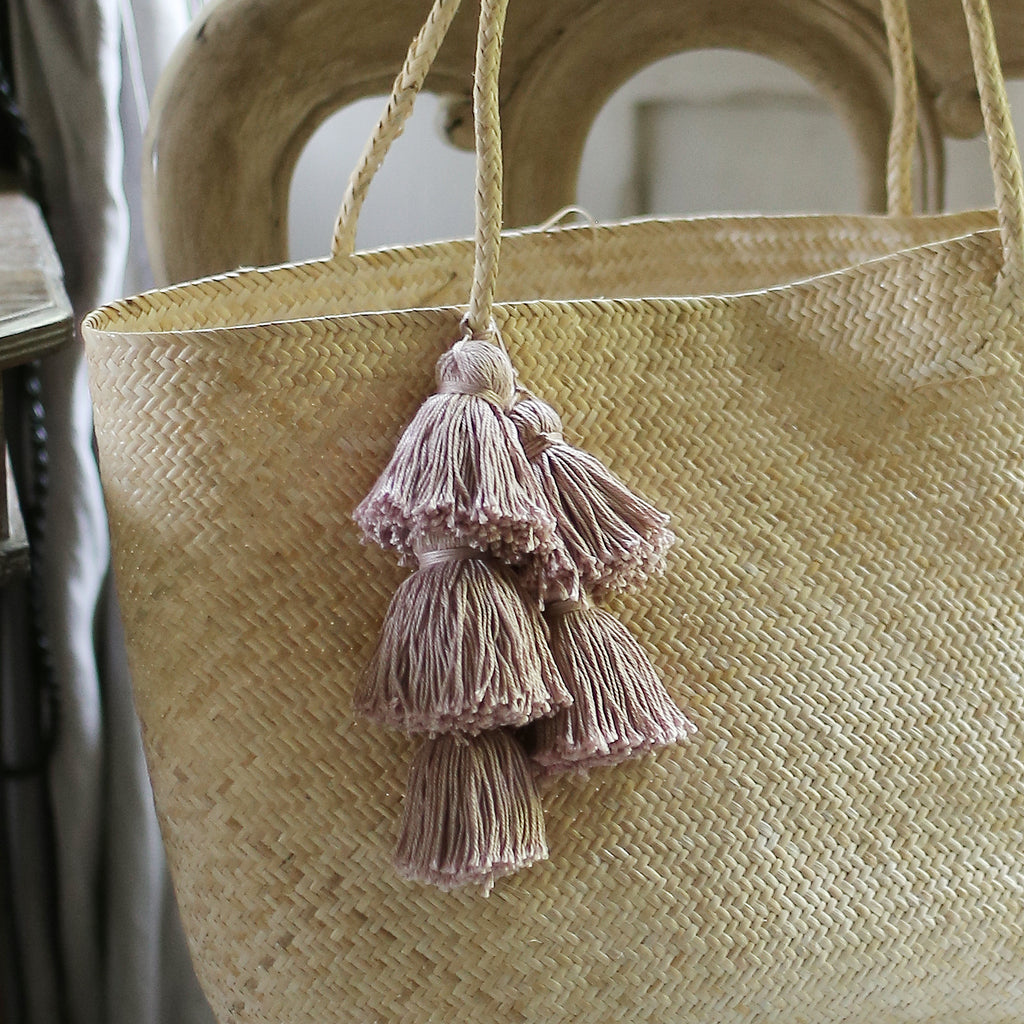 Borneo Sani Straw Tote Bag - with Pale Blush Tassels (Pre-order)