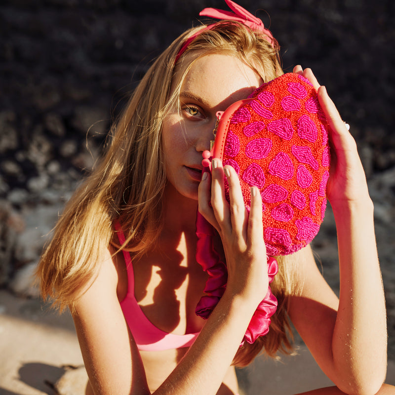 ARNOLDI JEAN Hand-beaded Clutch, in Red & Pink