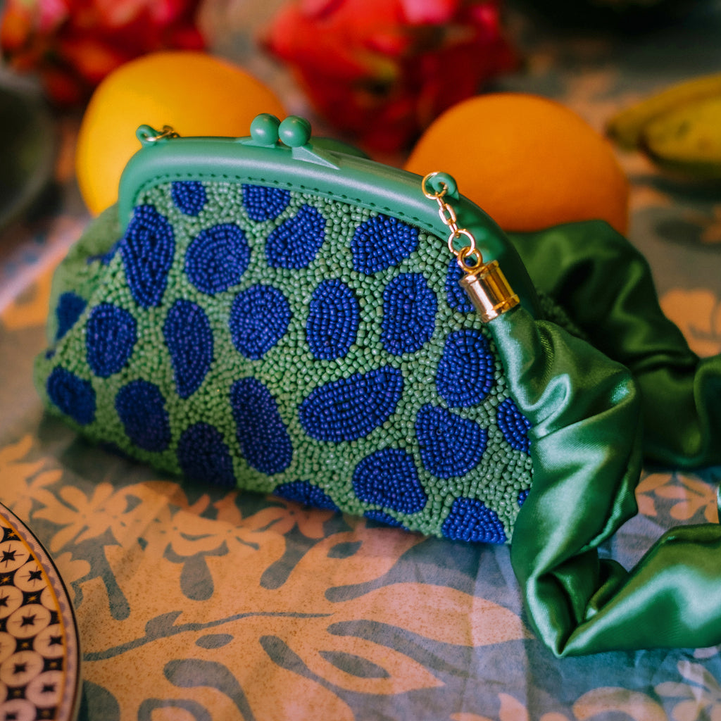 ARNOLDI JADE Hand-beaded Clutch, in Lush Green & Blue