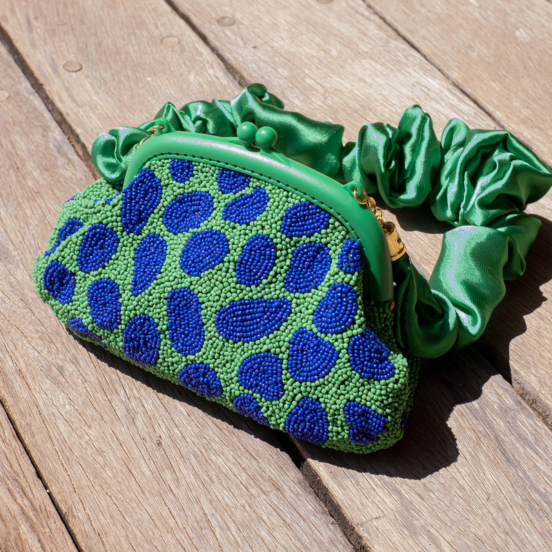 ARNOLDI JADE Hand-beaded Clutch, in Lush Green & Blue (Pre-order)