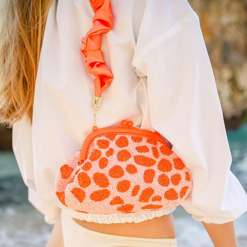 ARNOLDI PEACHPUFF Hand-beaded Clutch, in Papaya & Peach