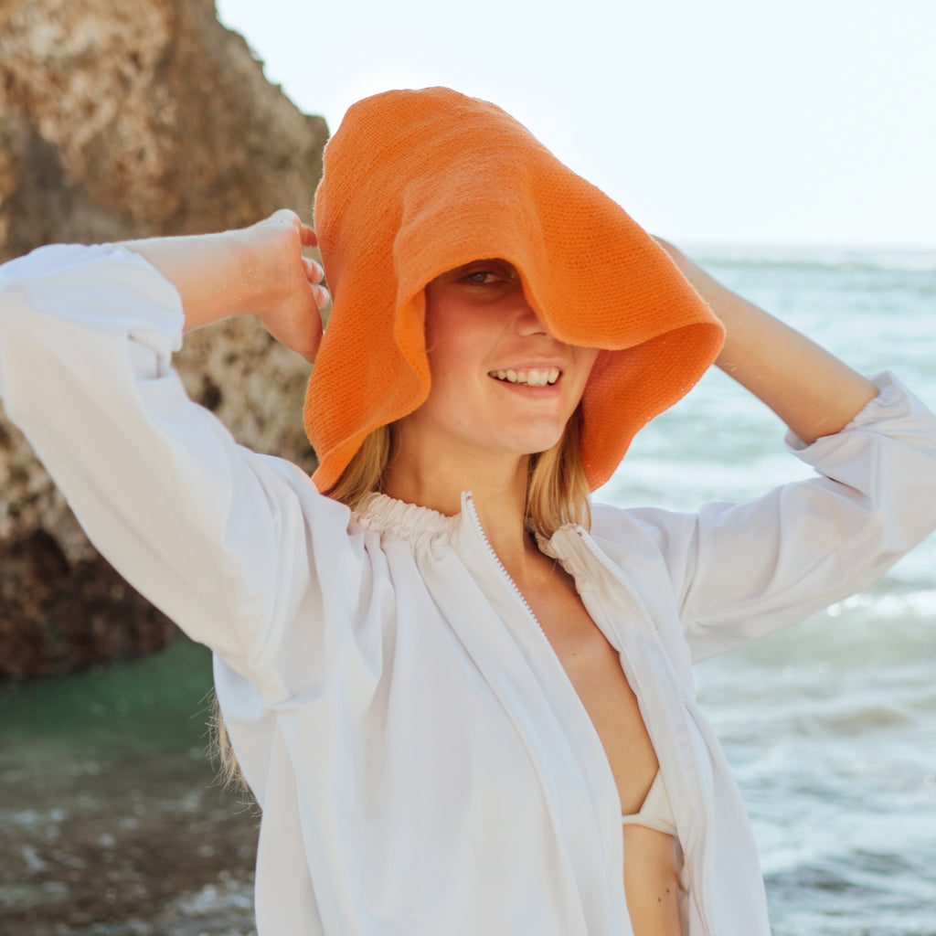 BLOOM Crochet Sun Hat, in Tangerine Orange