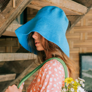 BLOOM Crochet Sun Hat, in Mosaic Blue