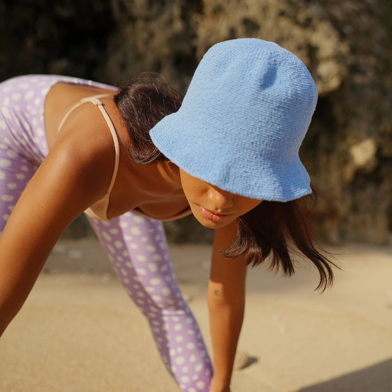 FLORETTE Crochet Bucket Hat, in Periwinkle Blue