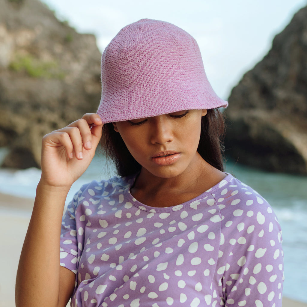 FLORETTE Crochet Bucket Hat, in Lilac Purple