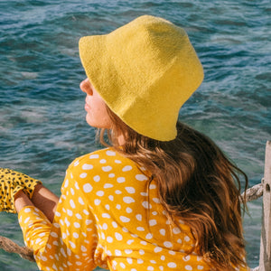 FLORETTE Crochet Bucket Hat, in Yellow