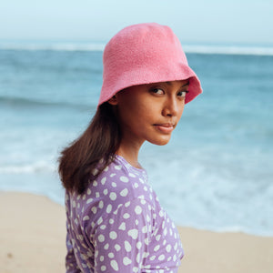 FLORETTE Crochet Bucket Hat, in Pink