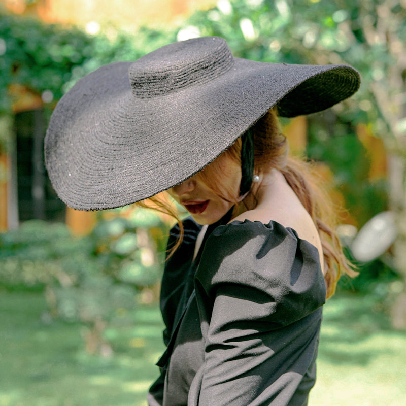 Lola Wide Brim Jute Straw Hat, in Black