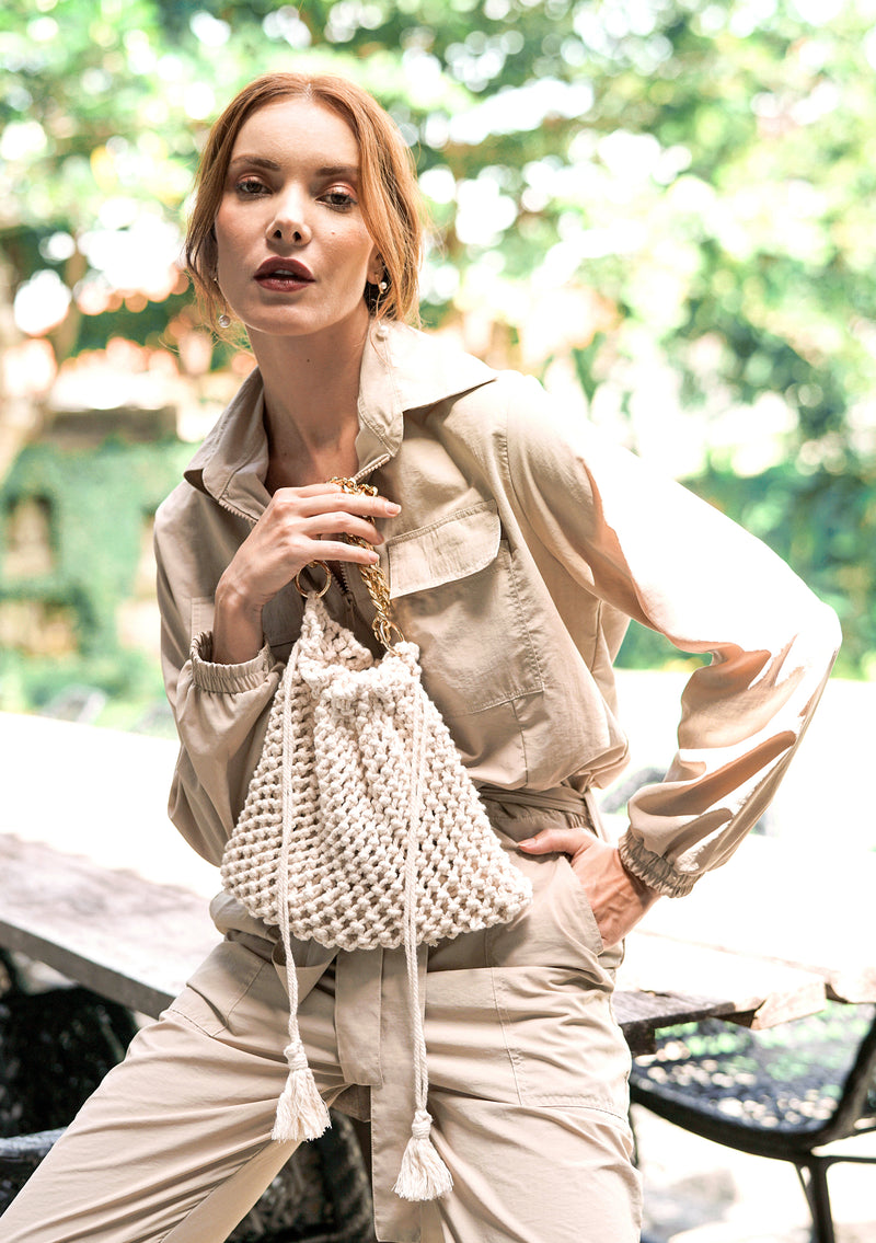 LYON Macrame Tote Bag, in Off White