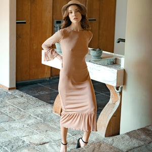 MARJORIE Ruffle Dress, in Camel Brown