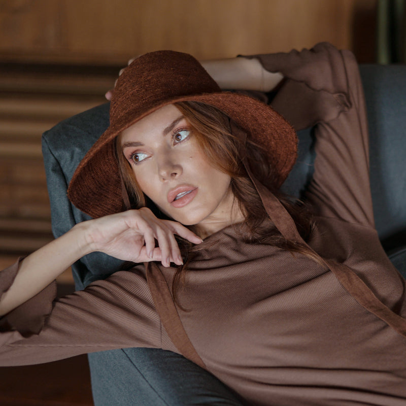 MEG Jute Straw Hat, in Burnt Sienna
