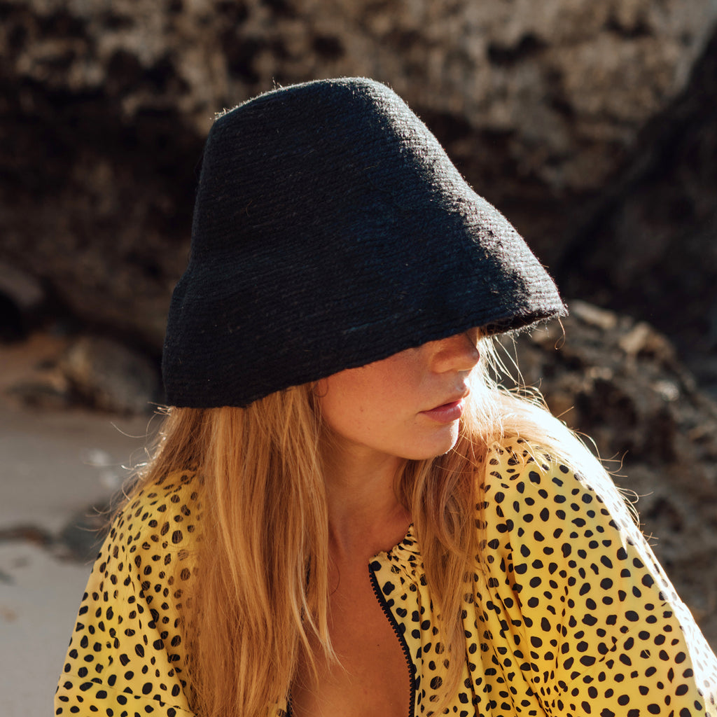 NAOMI Jute Bucket Hat, in Black