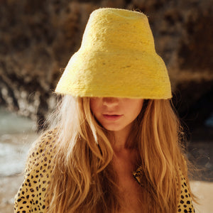 NAOMI Jute Bucket Hat, in Yellow