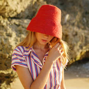 NAOMI Jute Bucket Hat, in Red