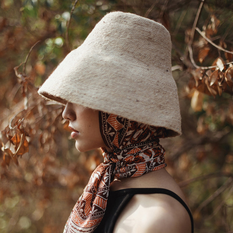 NAOMI Jute Bucket Hat, in Nude Beige
