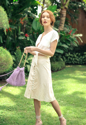 ULURU Button-down Linen Skirt