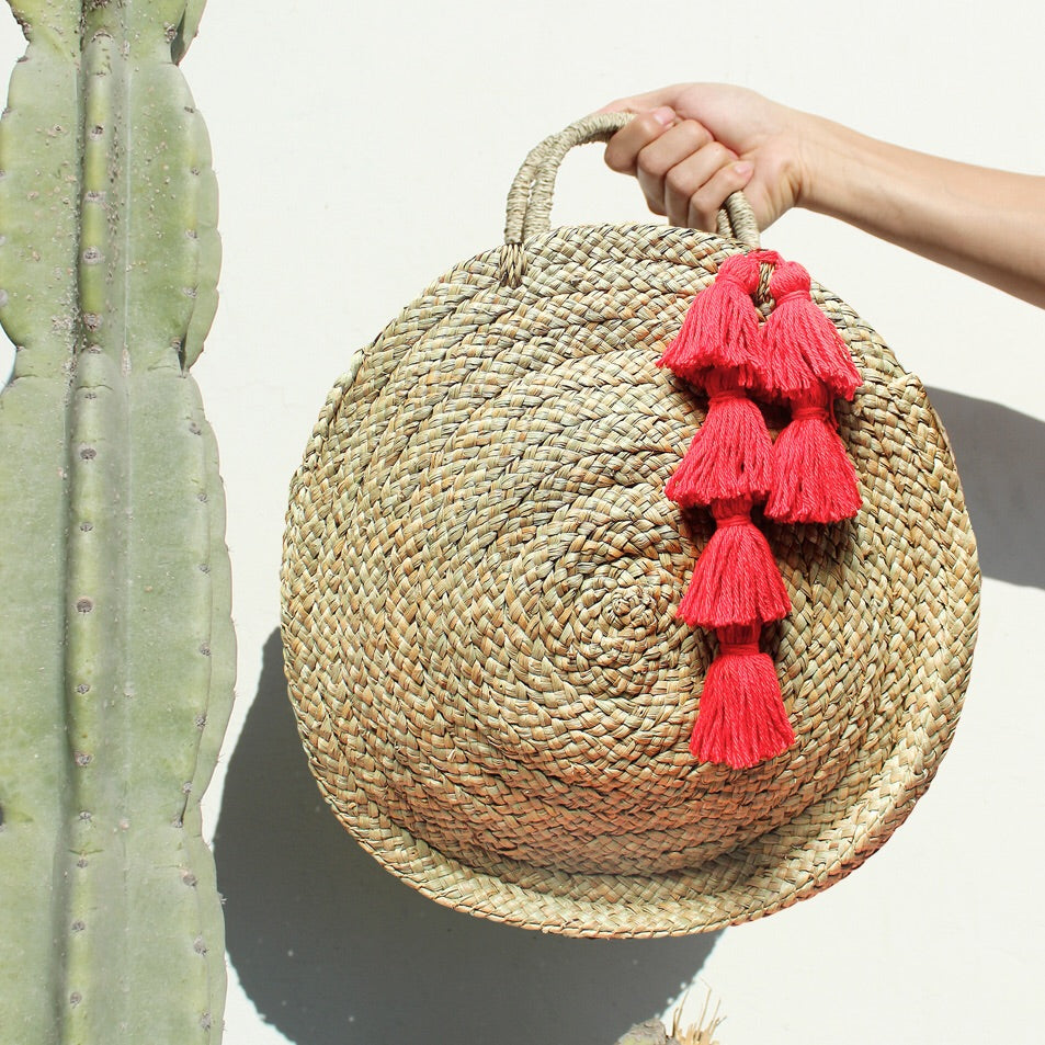 Brunna Luna Bag - Round Straw Tote Bag with Red Tassels