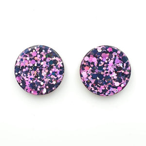 Round Resin Stud 25mm ~ Purple/Black/White