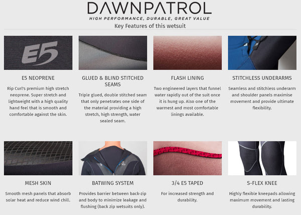 wetsuit warehouse rip curl dawn patrol wetsuits
