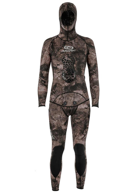 Aropec Camo 5mm 2 Piece Spearfishing Wetsuit in Brown