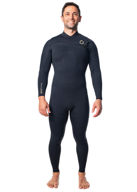 SALT Mens 3/2mm Chest Zip Steamer Wetsuit
