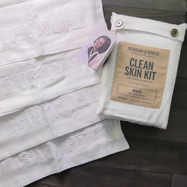 Clean Skin Kit Pillowcases In White - megan-graham-beauty