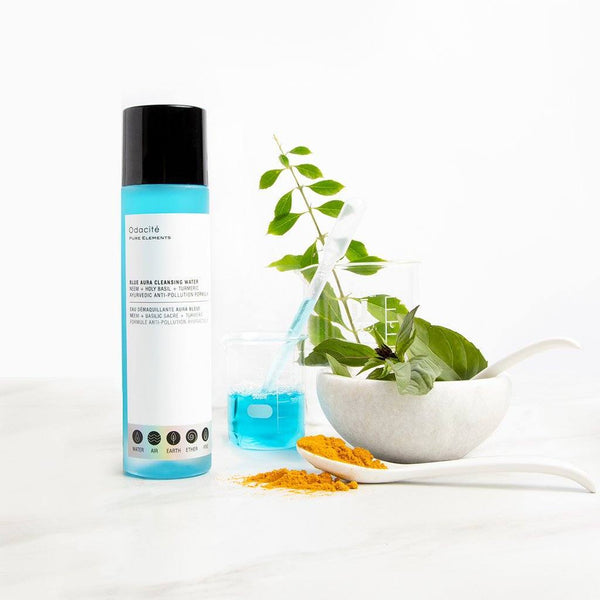 Odacité  Blue Aura Cleansing Water Neem + Holy Basil + Turmeric Ayurvedic Anti-Pollution Formula - megan-graham-beauty