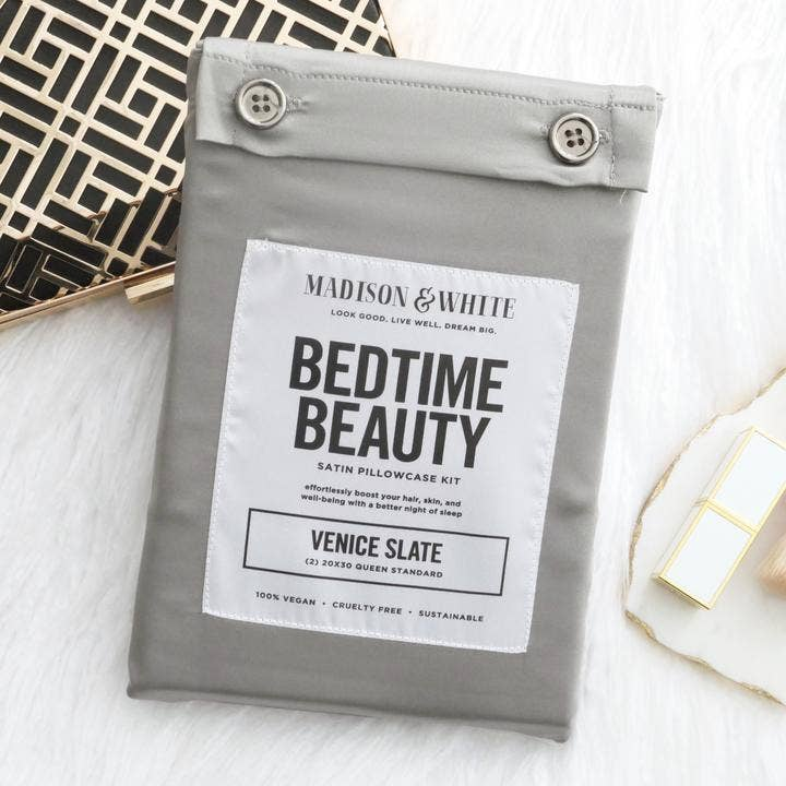 Satin Pillowcase Bedtime Beauty Kit In Venice Slate - megan-graham-beauty