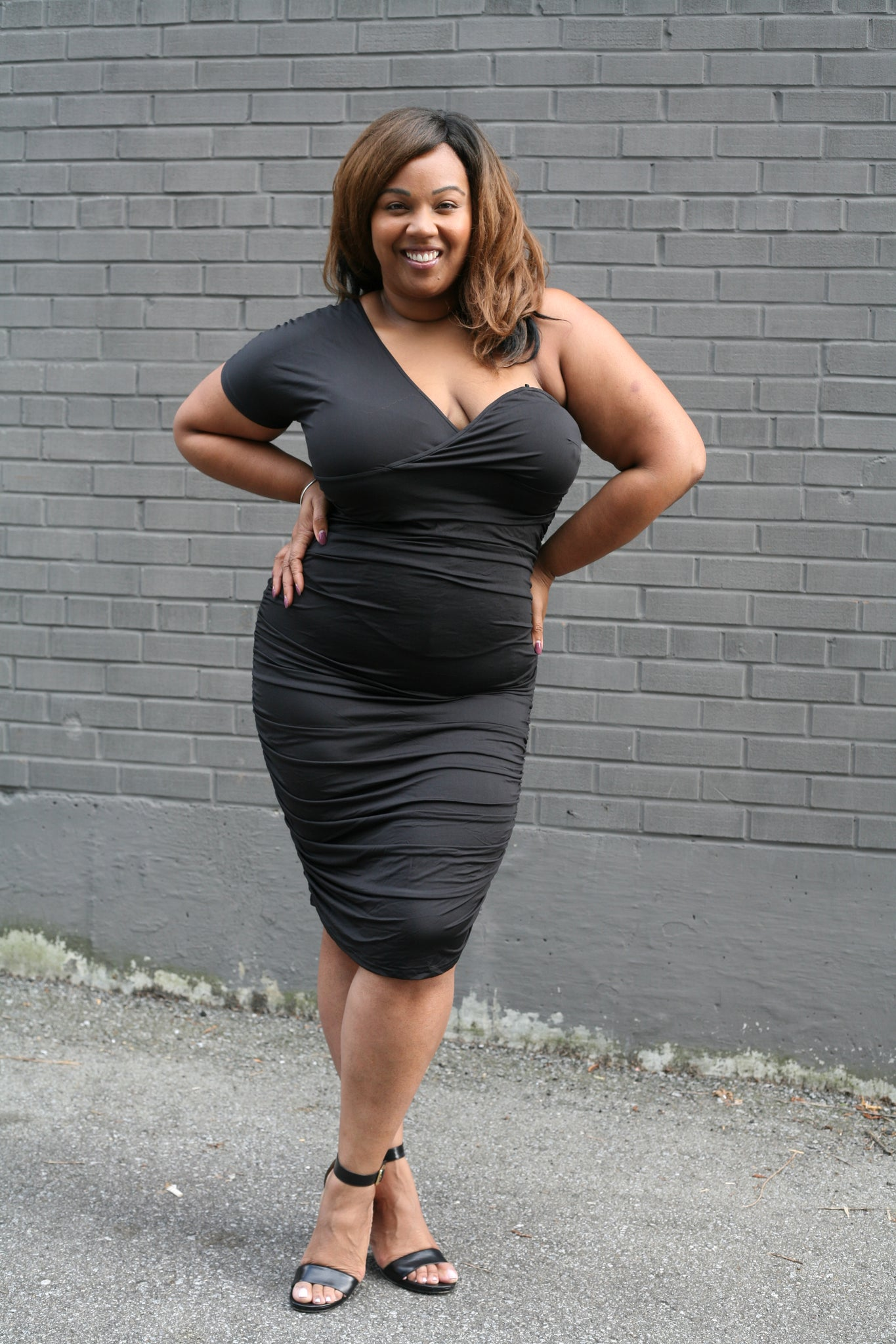 """KeKe"" Black Rouched Dress"