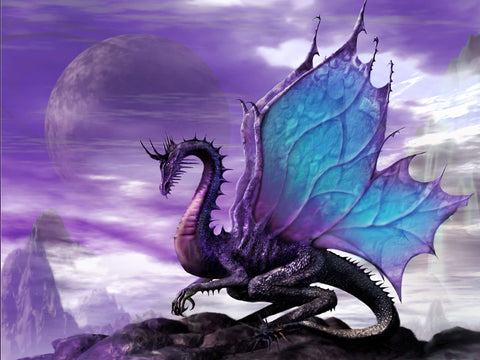 Blue & Purple Dragon - TryPaint