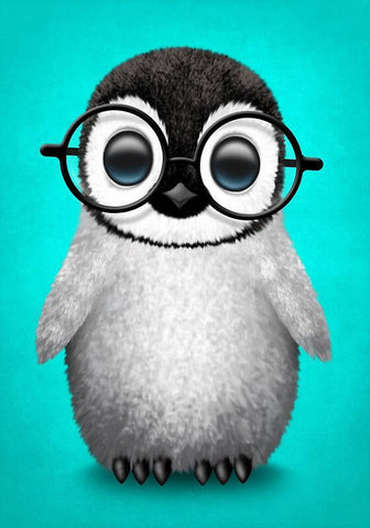 Baby Penguin with Glasses - TryPaint