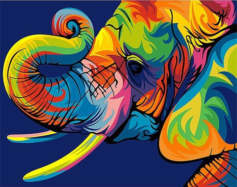 Colorful Elephant Mosaic Painting - TryPaint